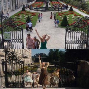Katie Rose Hand imitates a scene from the Sound of Music
