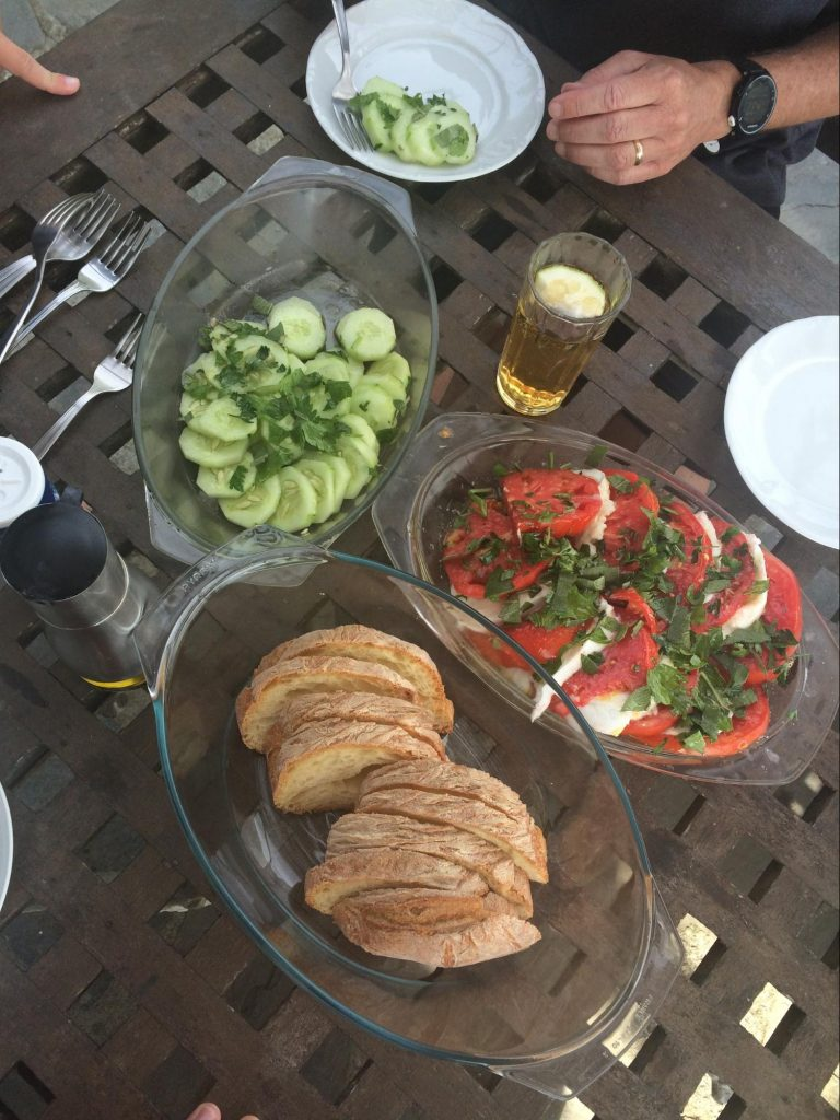 Cucumbers, tomatoes, cheese, bread for the Sackbut Trio