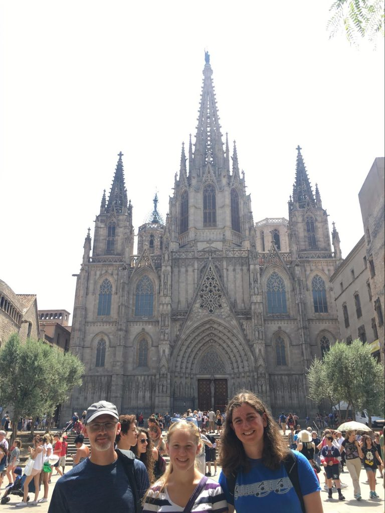 Sackbuts in front of cathedral in Barcelona