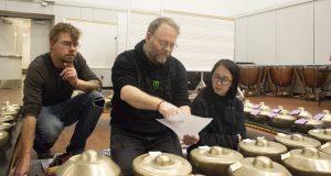Director John Caldwell works with students of the UNC Gamelan Nyai Saraswati ensemble.