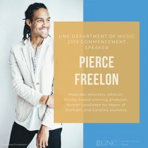 Pierce Freelon will be the Department of Music's 2019 Commencement Speaker.