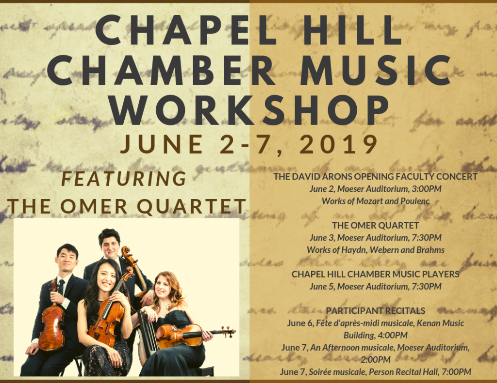 """Poster Image, title is: """"Chapel Hill Chamber Music Workshop"""""""