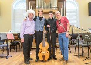 Professor Brent Wissick, Barron Northrup, Corbin Bryan, and John Pringle at the UNC Baroque Ensemble and Cosort of Viols concert