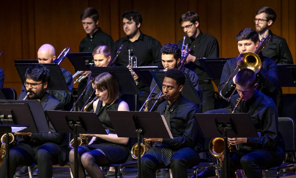 UNC Jazz Band performs on Moeser Auditorium stage.
