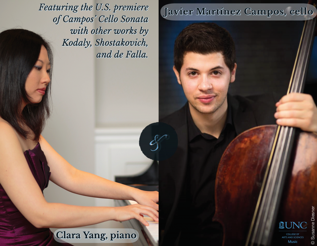 """Poster Image, title is: """"Javier Martínez Campos, cello, and Clara Yang, piano"""""""