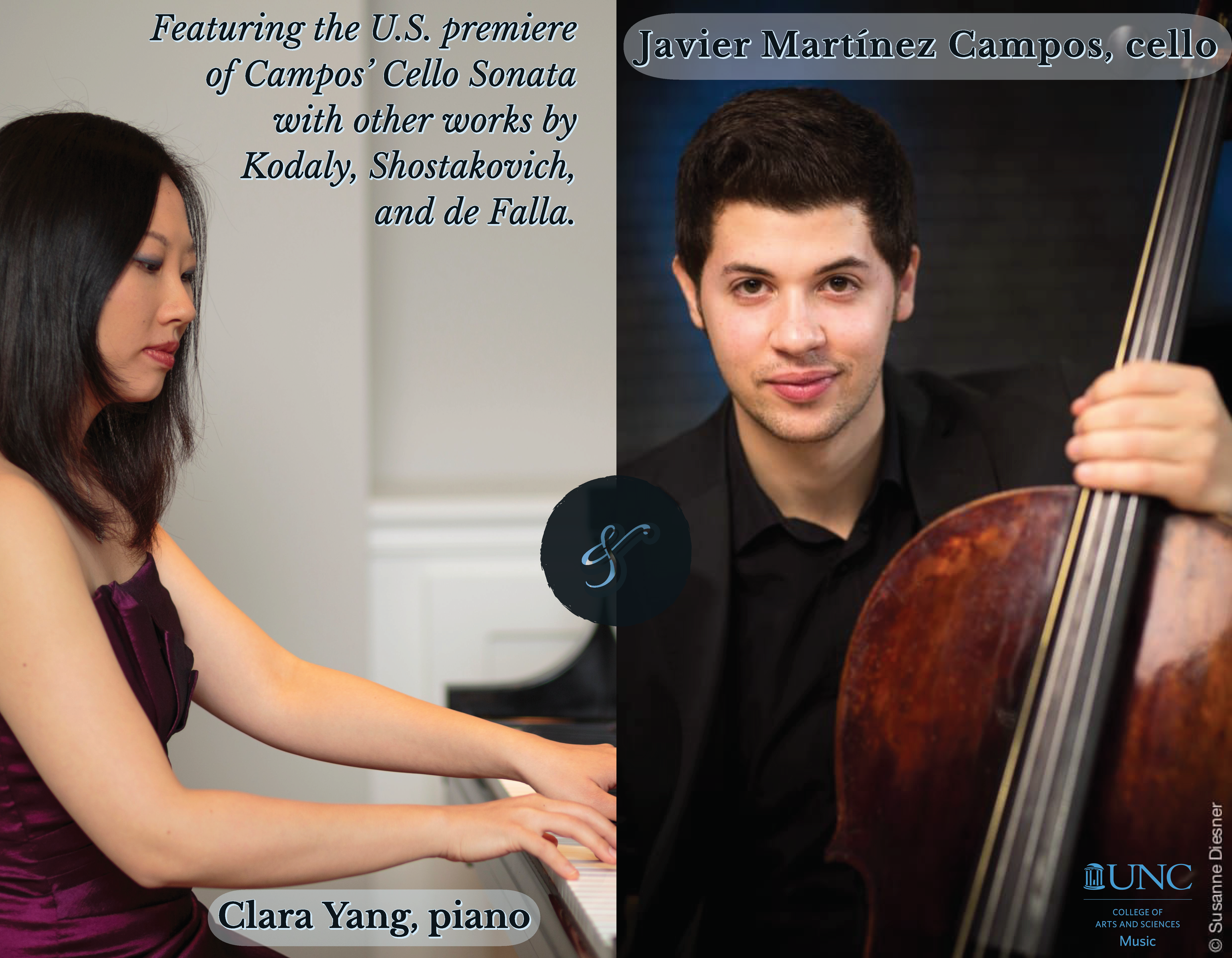 "Poster Image, title is: ""Javier Martínez Campos, cello, and Clara Yang, piano"""