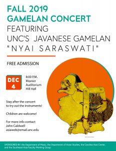 """Poster Image, title is: """"Fall 2019 Gamelan Concert Featuring UNC's Javanese Gamelan 'Nyai Saraswati'"""""""