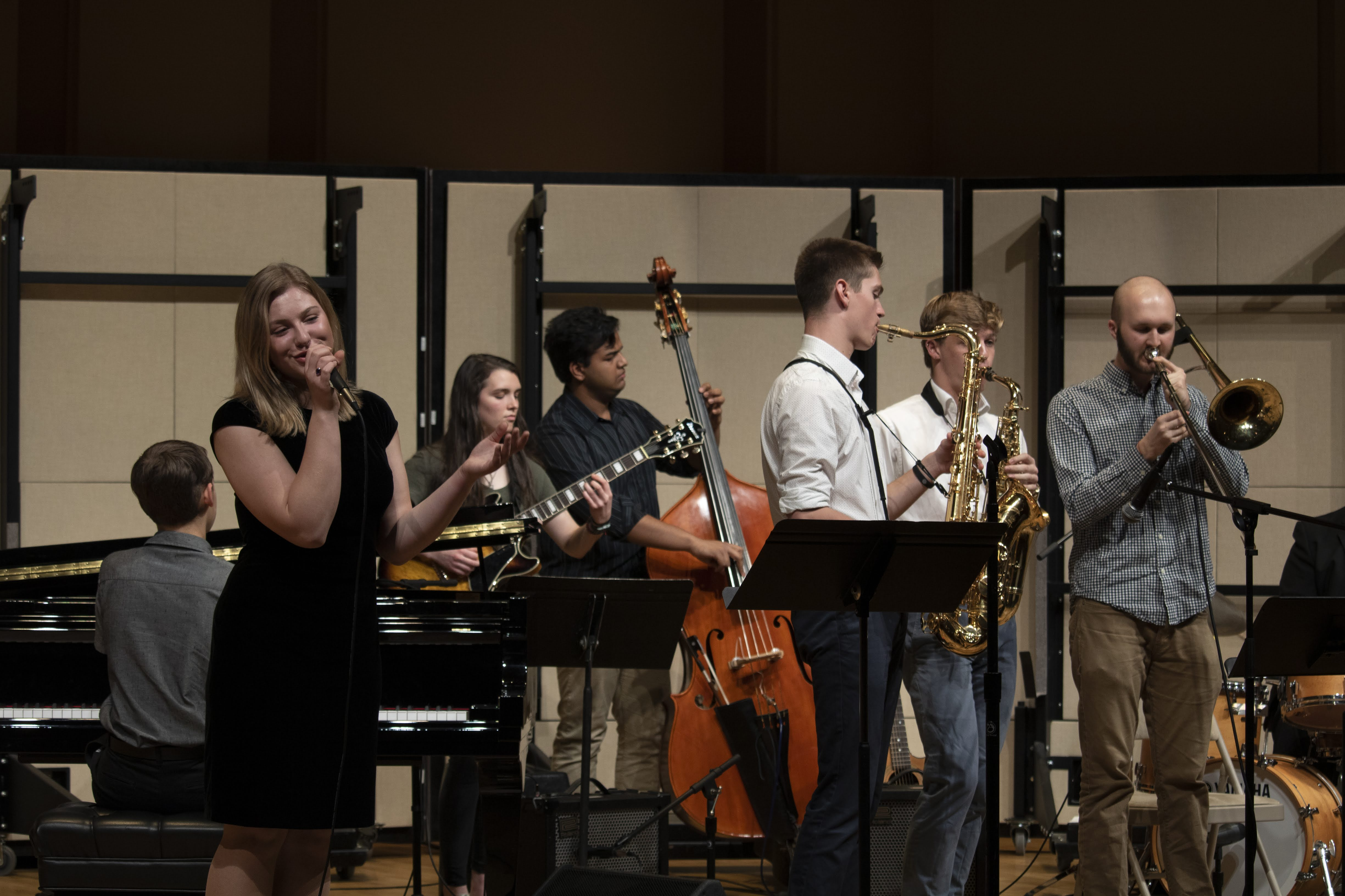 A student jazz combo performs on Moeser Auditorium stage.