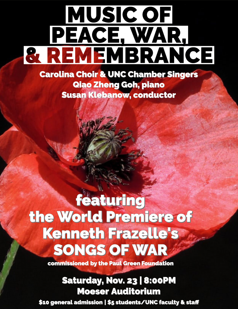 """Poster Image, title is: """"Music of Peace, War, & Remembrance"""""""