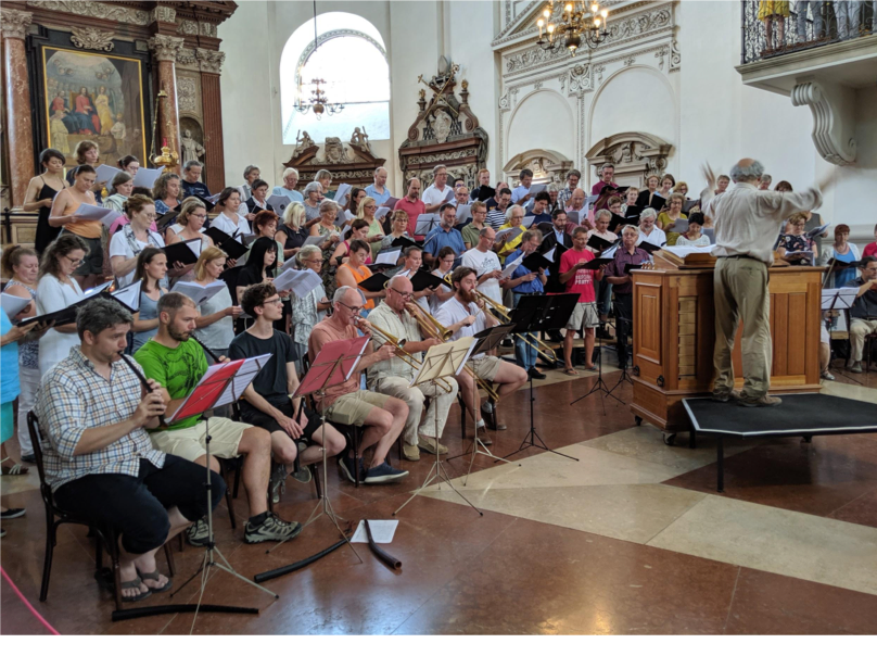 Rehearsal with combined choirs under the direction of Jànos Czifra