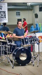 Jay jams out on the drums.
