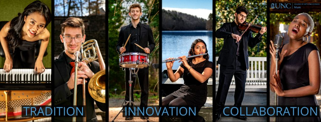 Six music majors with their instruments in nature. Overlaid are the words: Tradition. Innovation. Collaboration.