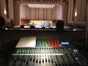 "Jesse's main ""desk"" in Moeser Auditorium (the sound board)."