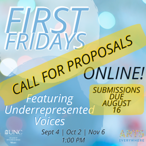 First Friday Online! Call for Proposals, Submissions due August 16; Featuring Underrepresented Voices; Sept 4 | Oct 2 | Nov 6, 1:00 PM