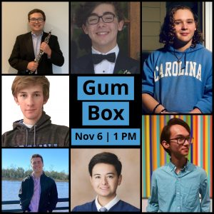 Collage of Gum Box members; Text Reads: GUM BOX, Nov 6 | 1 PM