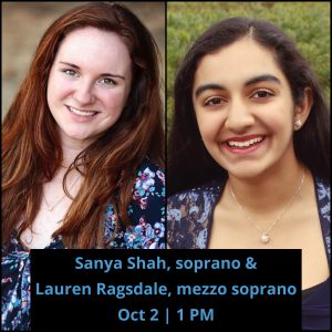 Lauren Ragsdale and Sanya Shah; Text Reads: Lauren Ragsdale and Sanya Shah, Oct 2 | 1 PM