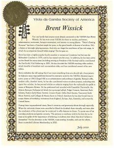 Full text of the citation awarding Brent Wissick Lifetime Membership in the Viola da Gamba Society of America.