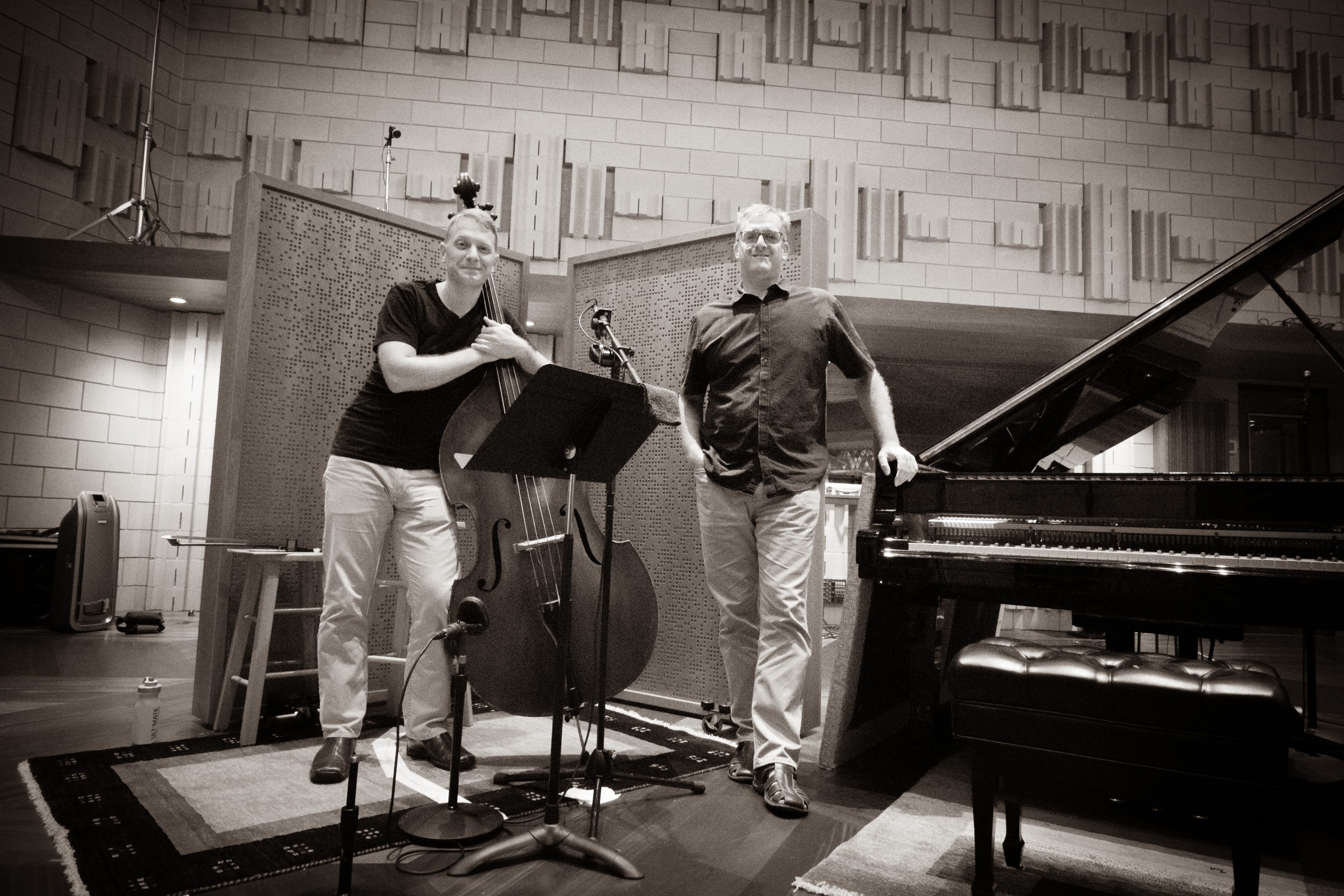 Jason Foureman and Stephen Anderson in the recording studio.