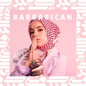 Mona Haydar with praying hands at her mouth. Barbarican written over her head. Pink and white background.