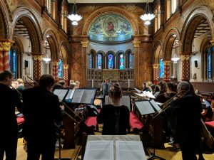 UNC Sackbut Ensemble performance with KCL musicians in the KCL chapel.