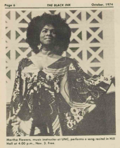 Martha Flowers photo from a 1973 recital at UNC featured in Black Ink.