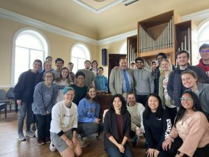 "Students of the ""Traveling through the Ivories Class"" pose with Mr. Tom Kenan during his visit with the class in March 2020."