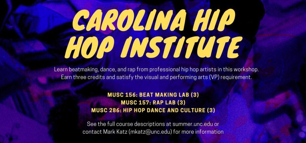 Carolina Hip Hop Institute (description on purple and black background; text on website)