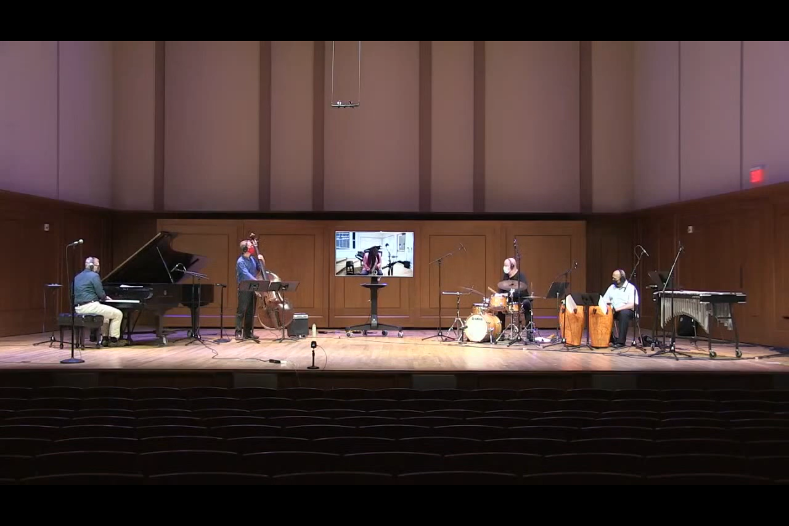 Screenshot of Jazz Faculty in concert, masked and socially distanced in October 2020.