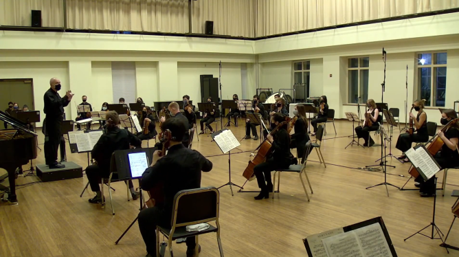 Screenshot of the UNCSO performing in March in Kenan Rehearsal Hall