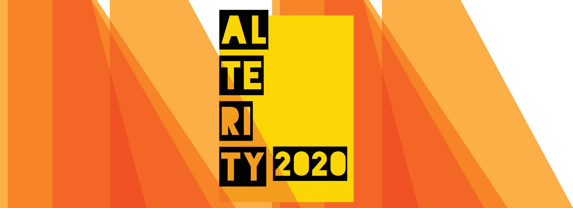Ombre hues of orange are a backdrop for the text ALTERITY 2020