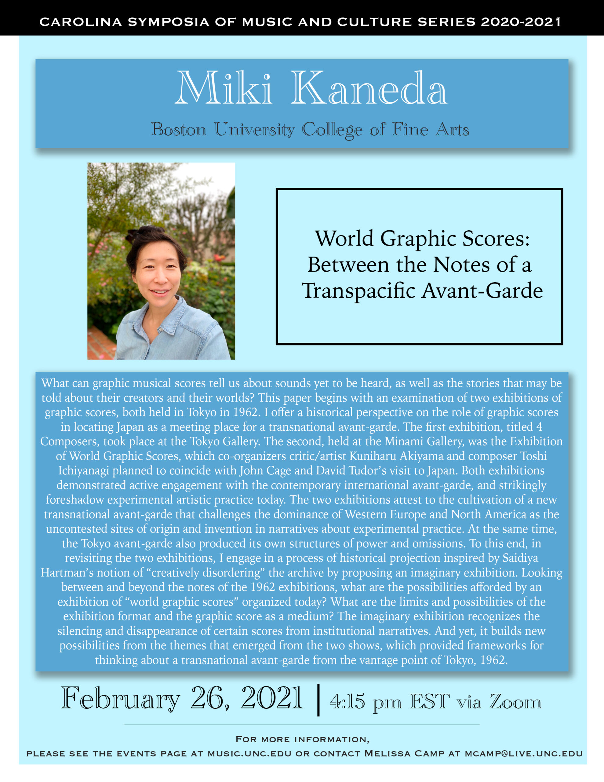 Kaneda's Lecture poster image. All text on webpage.