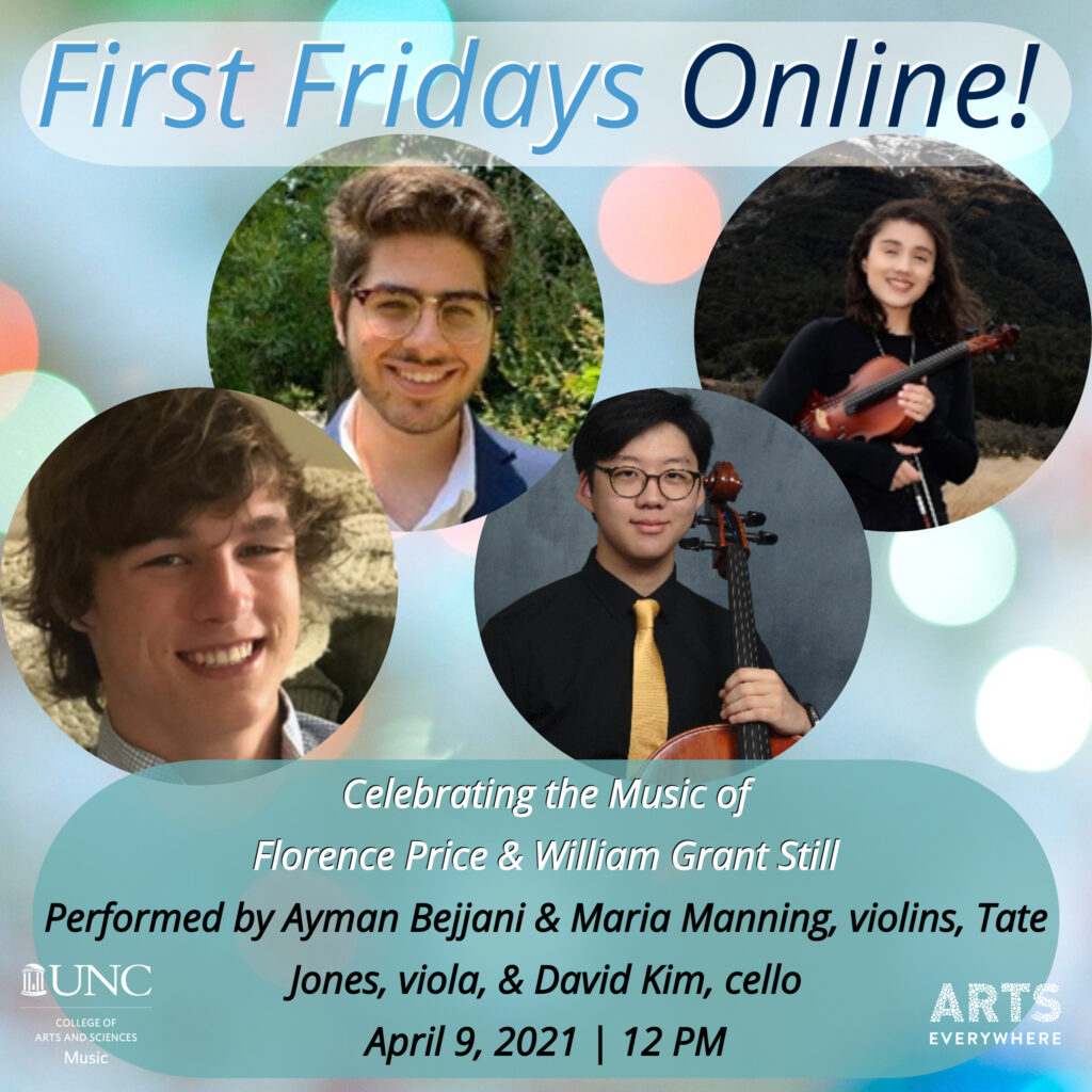 First Fridays Quartet collage. Text with performance information also available on webpage.