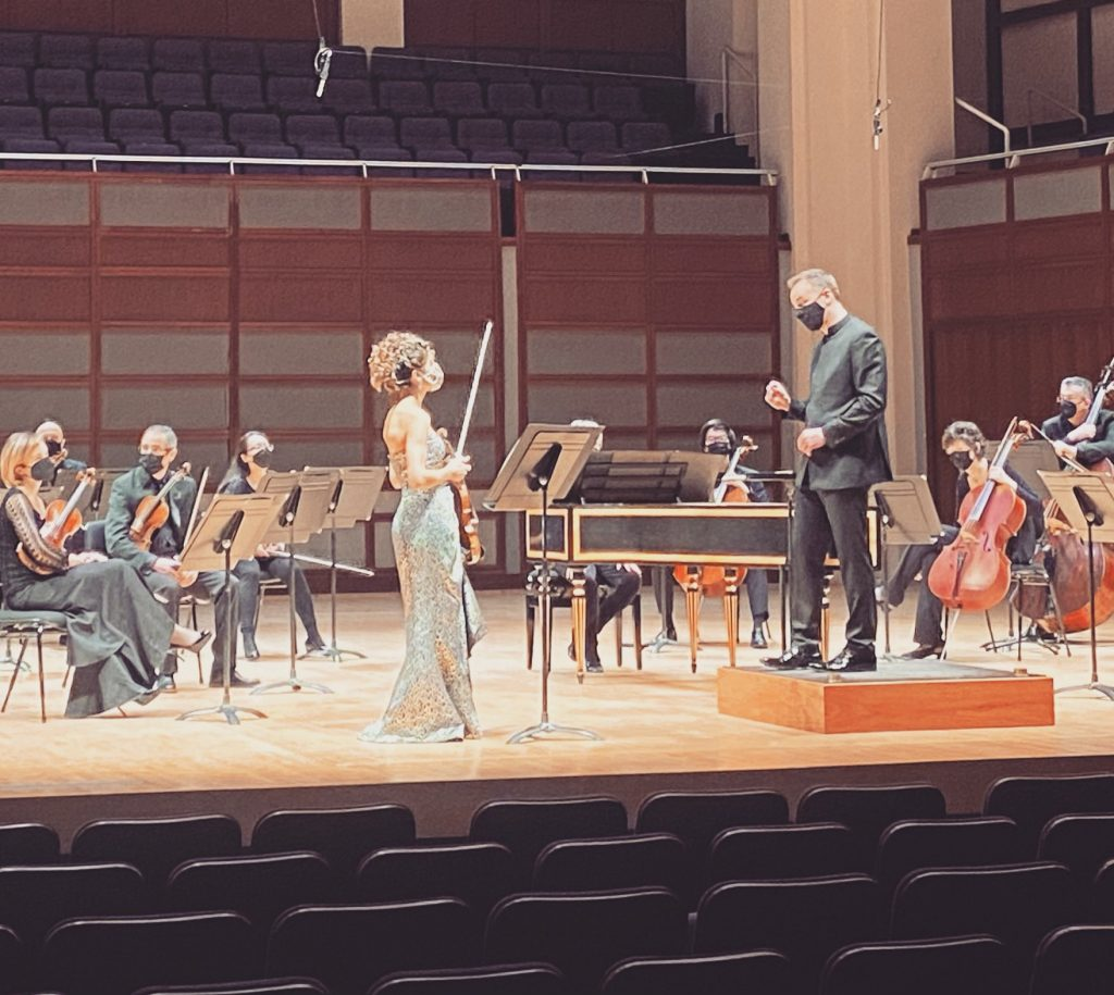 Wolborsky on stage with the NC Symphony chamber orchestra recording Winter from Vivaldi's Four Seasons.