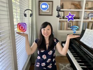 Clara Yang with digital icons in an arc over her head, her hands are out palms up as if she's holding the icons herself.