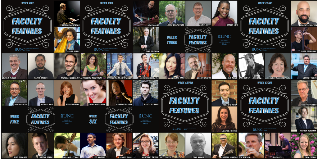 Faculty Features Recap collage of all eight series graphics