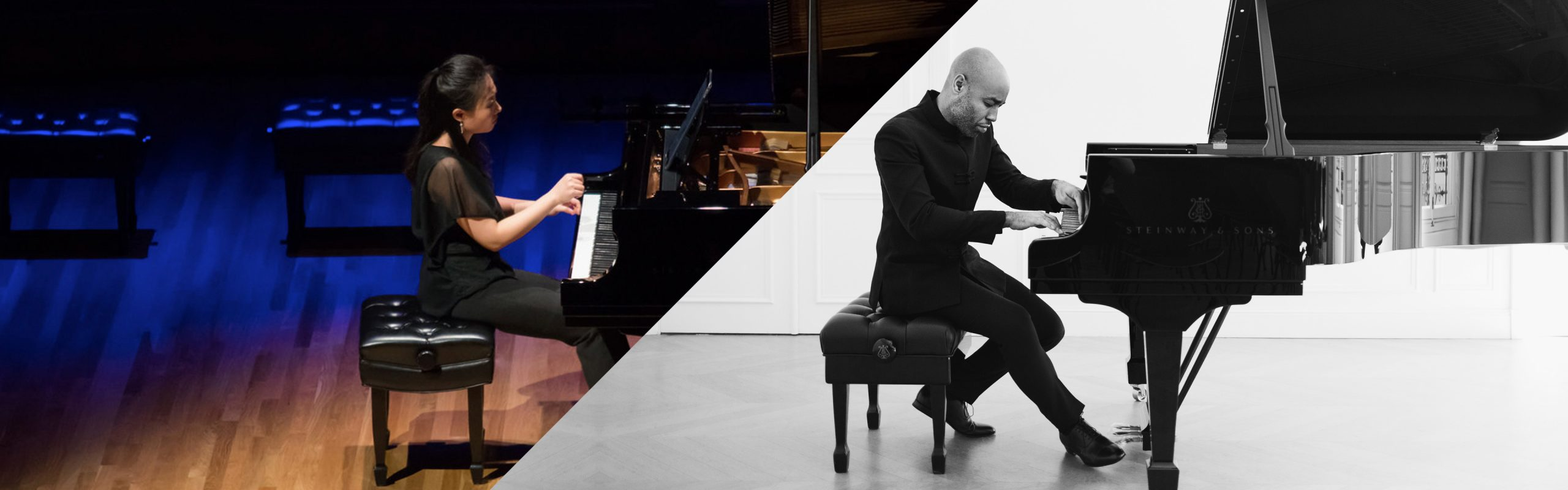 Clara Yang on left and Aaron Diehl on right playing pianos
