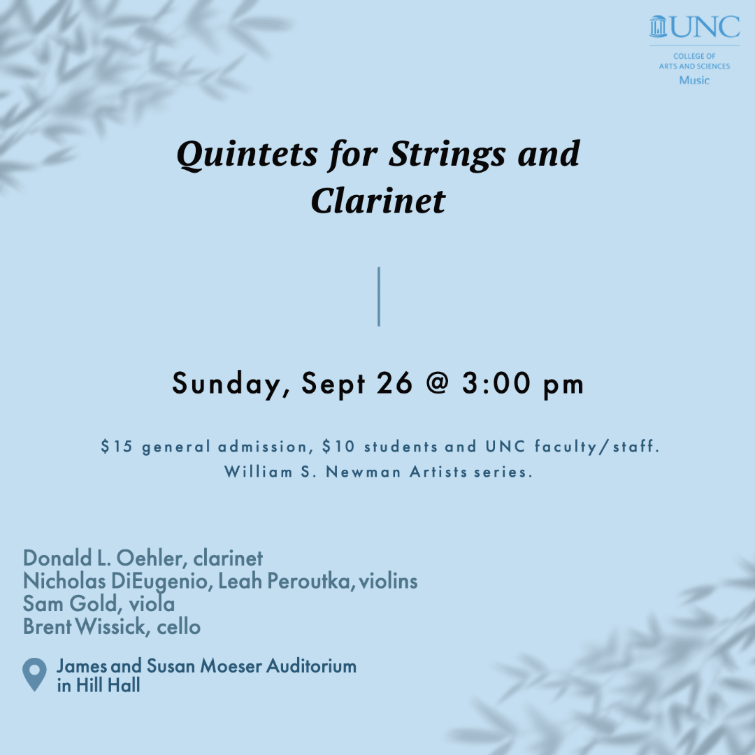 Quintets for Strings and Clarinet, Sunday, September 26 @ 3:00 pm