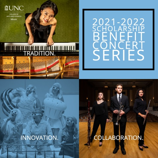 2021-2022 Scholarship Benefit Concert Series, Tradition. Innovation. Collaboration. Image of pianist in top left, singers in pajamas with oversized inflatable baked goods perform on a bed, wind players pose with instruments on stage.